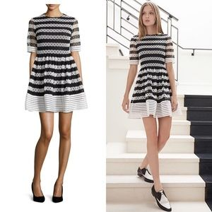 Alexis Amir Striped Guipure  Pleated Dress